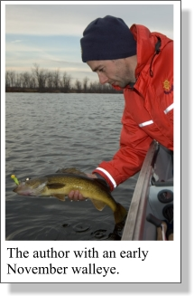 Fishing for Walleye in Rivers in the Fall.